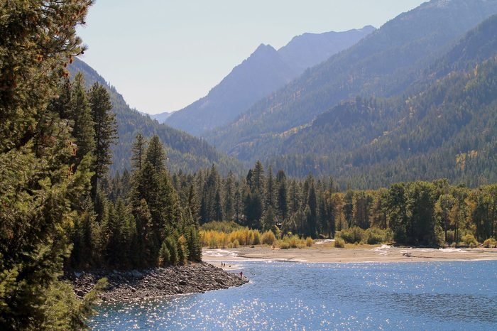 Wallowa Lake in Northeast Oregon with Trees and Mountains in the background