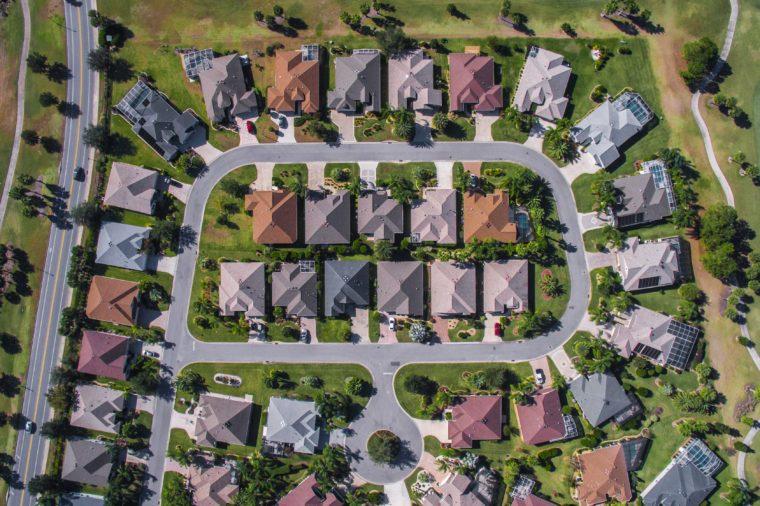 Top-Down aerial view of vast neighborhood