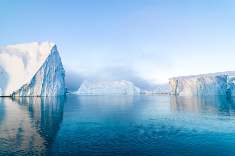 Arctic Icebergs on Arctic Ocean in Greenland