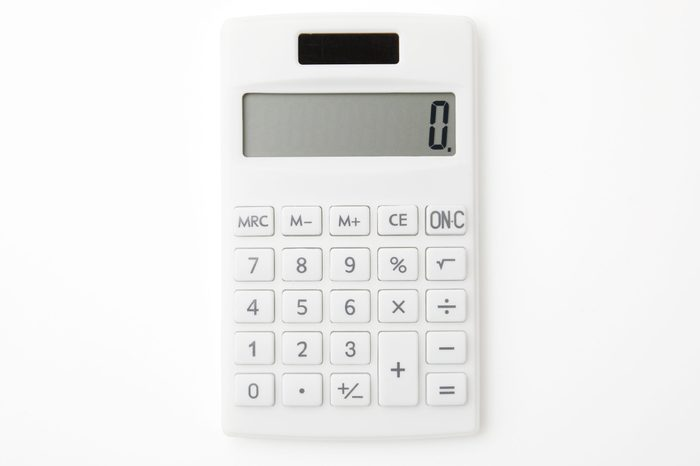 close up of the calculator