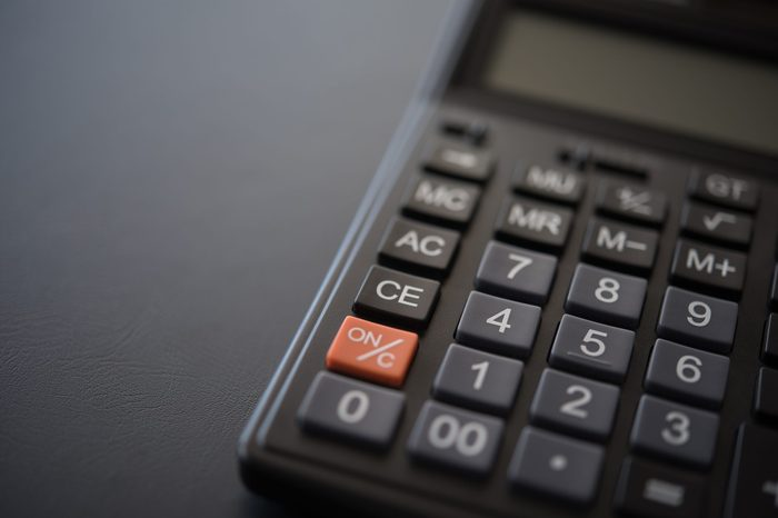 calculator on desk. top view with copy space.