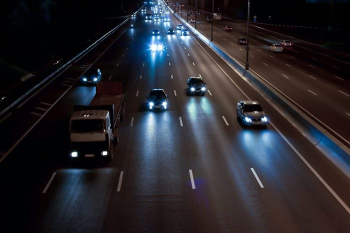 cars move on the night highway