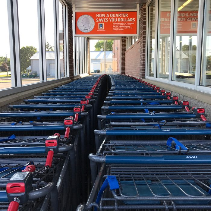 The carts outside an Aldi grocery store in Minnesota.