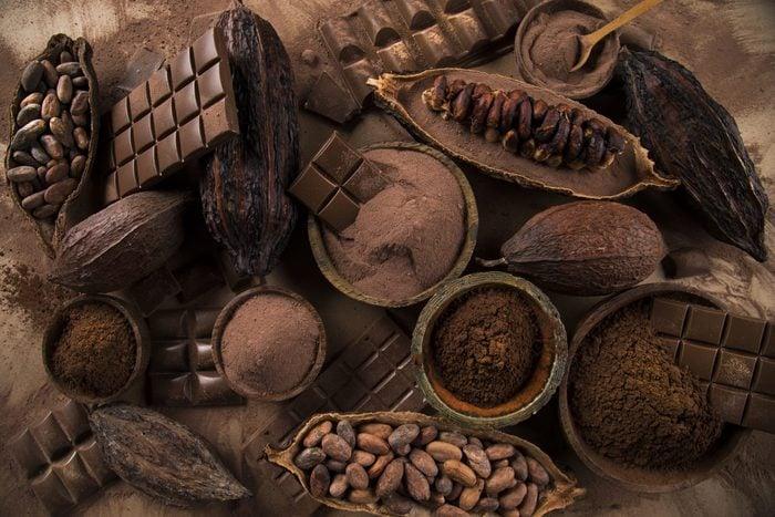 Sweet dessert bitter dark chocolate and cocoa beans