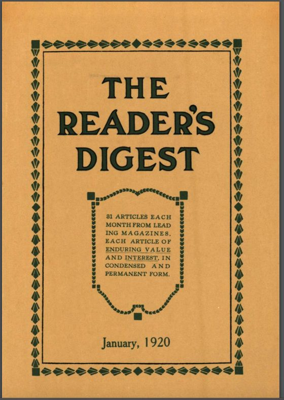 1920 cover reader's digest magazine