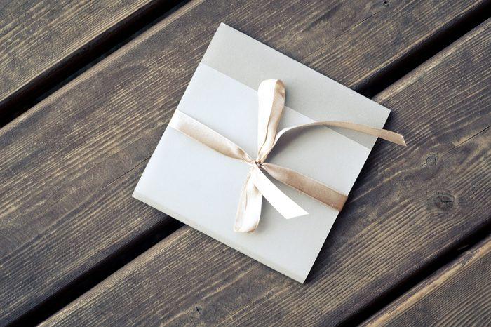 Gift envelope on the wooden floor