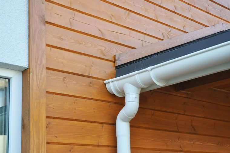 Closeup of problem areas for rain gutter waterproofing.