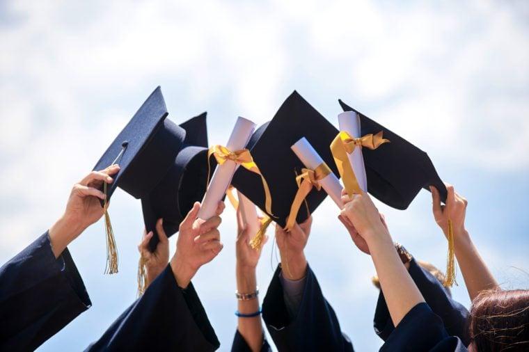 Graduation Caps Thrown in the Air