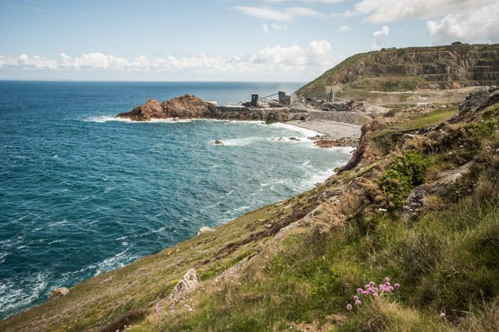 hiking on a cliff path on jersey island