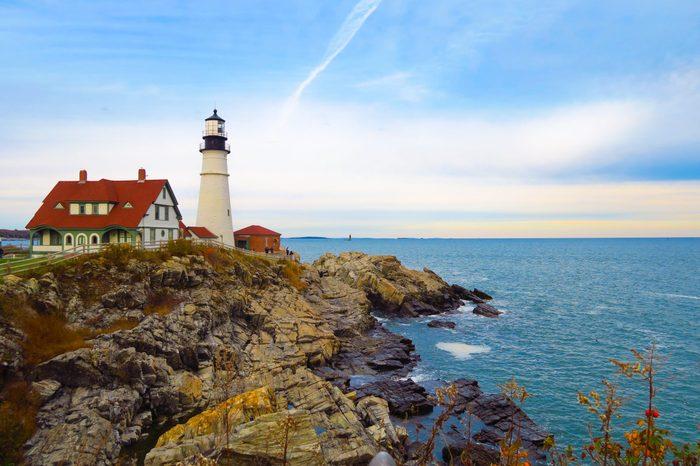 Lighthouse on the rocks, Portland, Maine