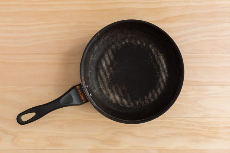non stick frying pan on wooden background