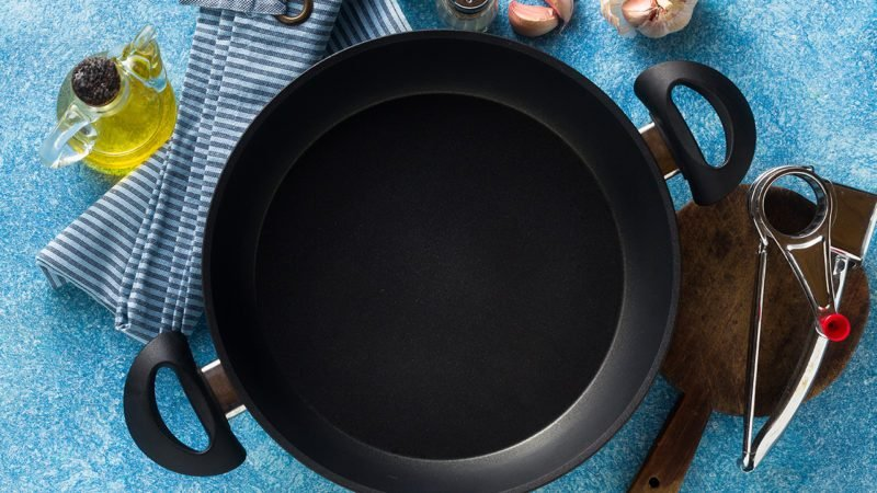 non-stick frying pan on the table. cooking food