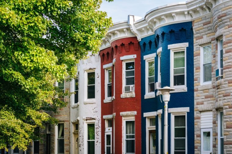 Colorful row houses in Hampden, Baltimore, Maryland