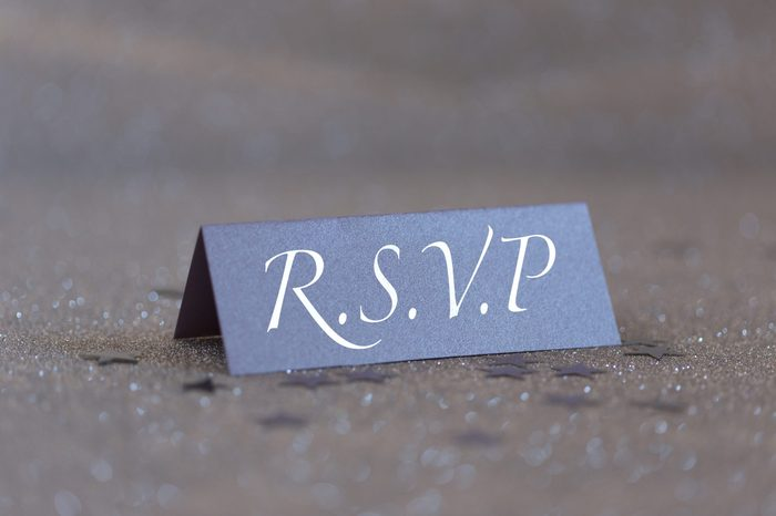R.S.V.P. Place Card on a Glittery Silver Background