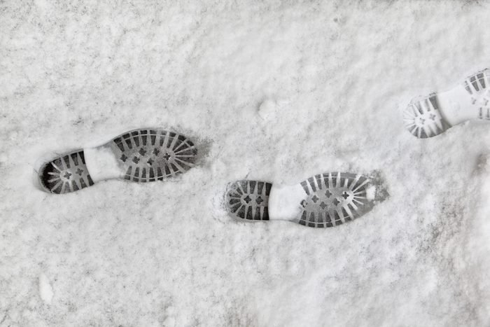 New shoeprints in fresh snow.