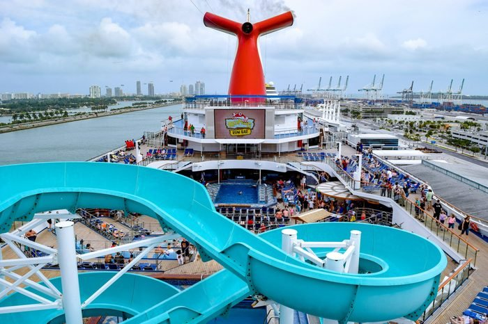 Passengers onboard the Carnival Liberty Cruise Ship in Miami,
