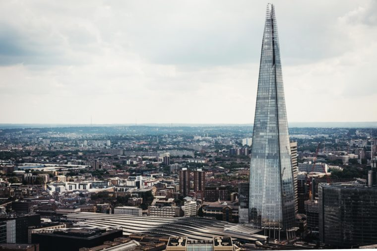 Aerial view of London skyline and the Shard