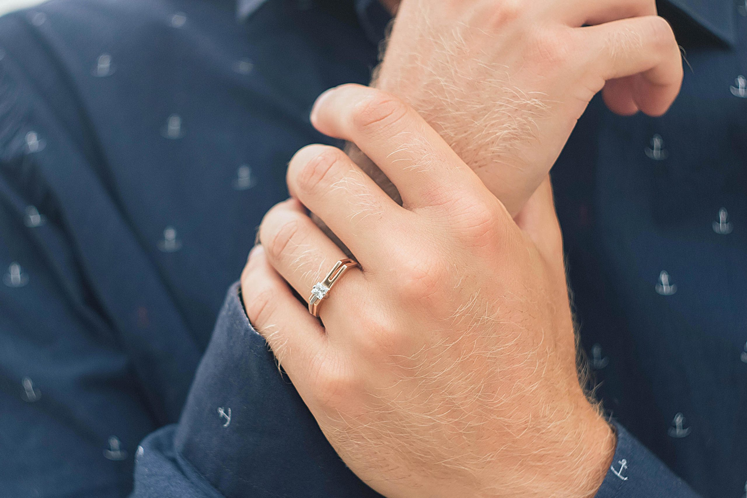men's ring on the hand of a man, men's jewelry, gold ring, men's accessories