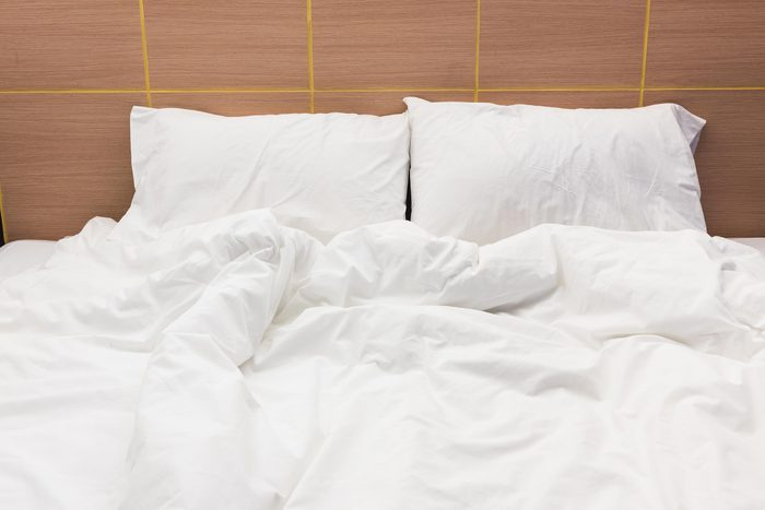 Bed sheets that crumpled on the bed
