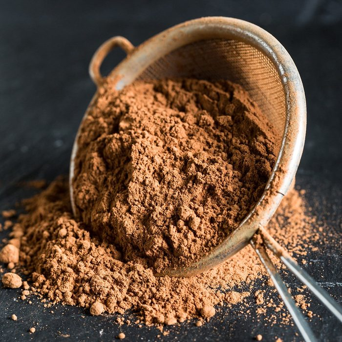 Cocoa powder in a sieve; Shutterstock ID 1308357037; Job (TFH, TOH, RD, BNB, CWM, CM): TOH