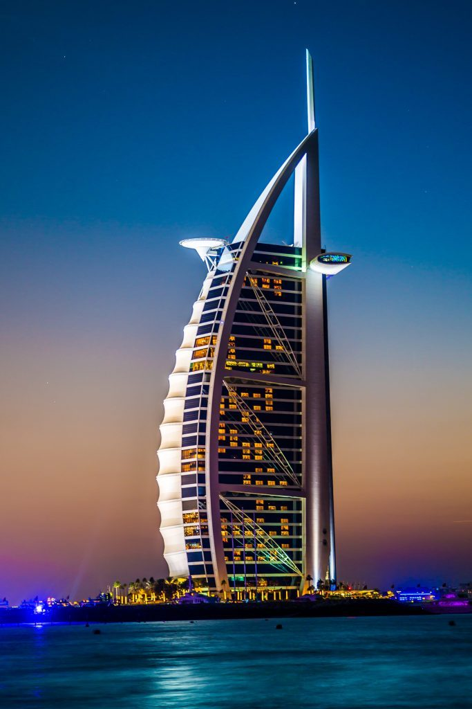 The world's first seven stars luxury hotel Burj Al Arab