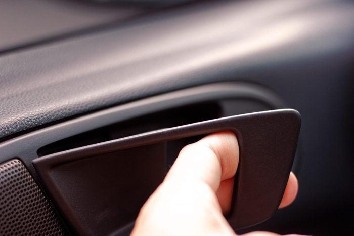 Hand pulling interior car door handle