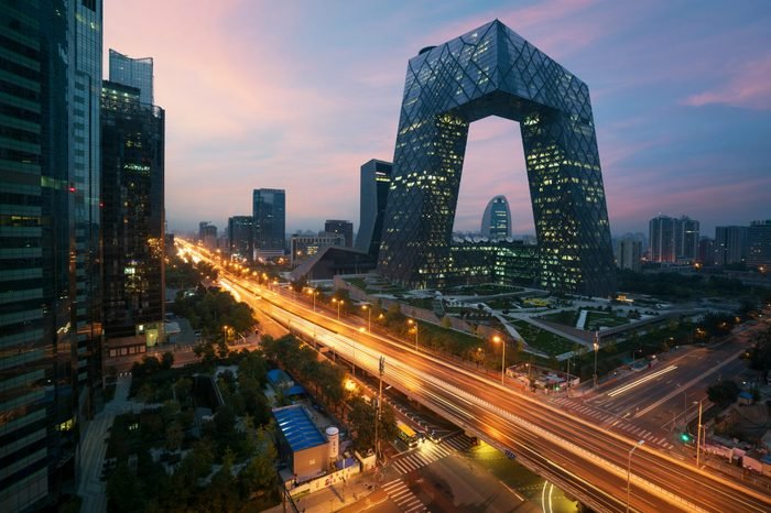 Beijing, China - October 23,2017 : China's Beijing City, a famous landmark building, China CCTV (CCTV) 234 meters tall skyscrapers is very spectacular.