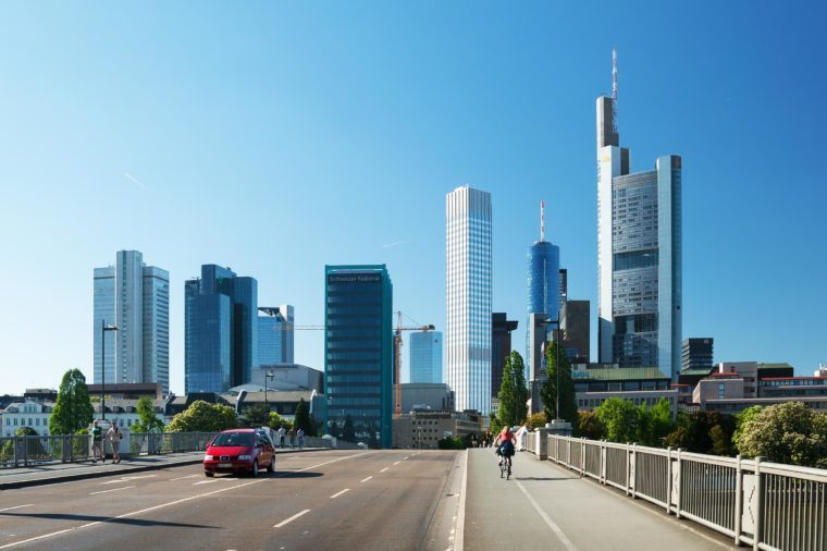 Frankfurt city street view. Frankfurt is the fifth-largest city in Germany is also a center for finance, commerce, culture, education and tourism.