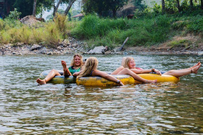 Tourist enjoy tubing