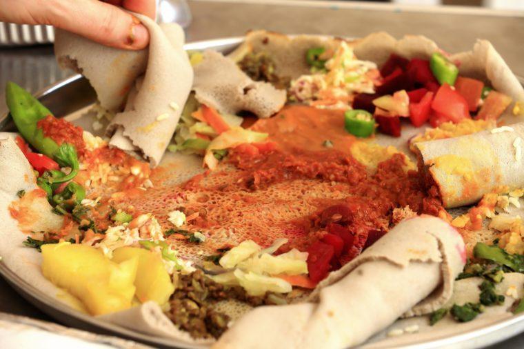 Typical ethiopian injera food