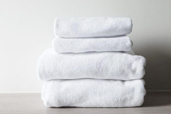 white towels on the table in the room