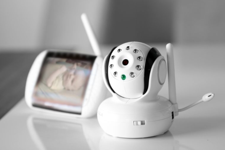The closeup baby monitor for security of the baby