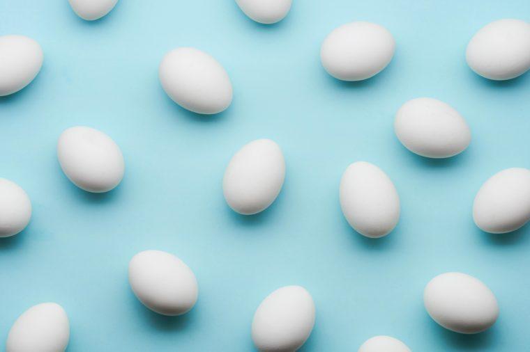eggs layflat on blue