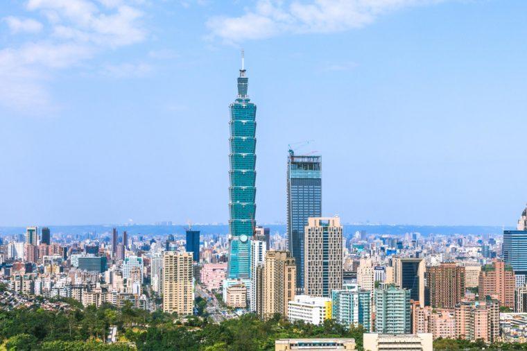 Panoramic cityscape of Taipei skyline and skyscraper.