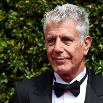 Anthony Bourdain arrives at the Creative Arts Emmy Awards at the Microsoft Theater, in Los Angeles