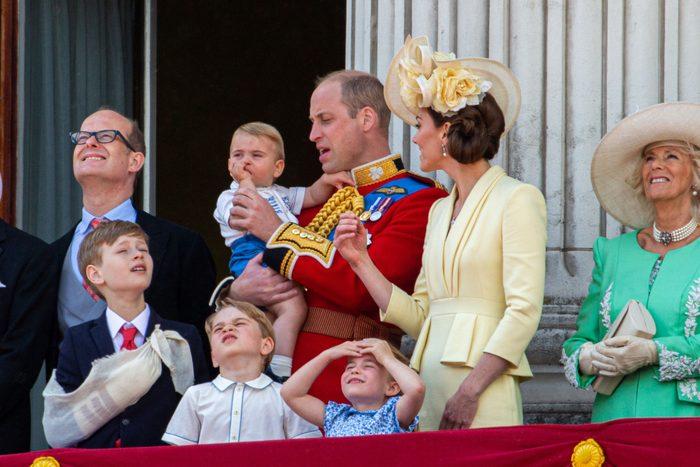lbert Windsor, Prince William, Catherine Duchess of Cambridge, Prince Louis, Prince George and Princess Charlotte