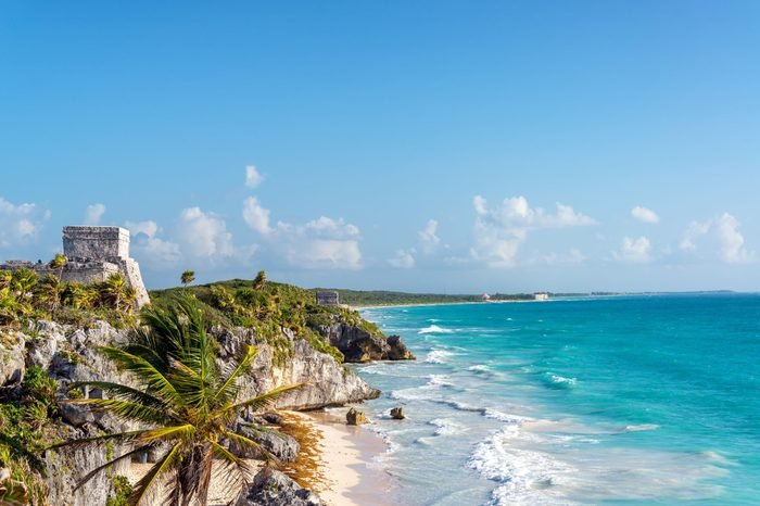 Ruins of Tulum, Mexico overlooking the Caribbean Sea in the Riviera Maya