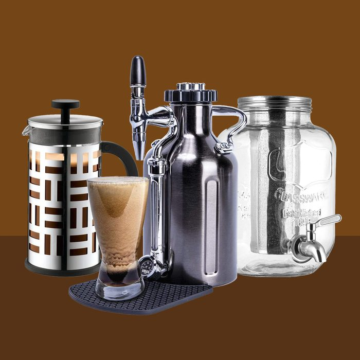 3 Coffee Makers on Brown background