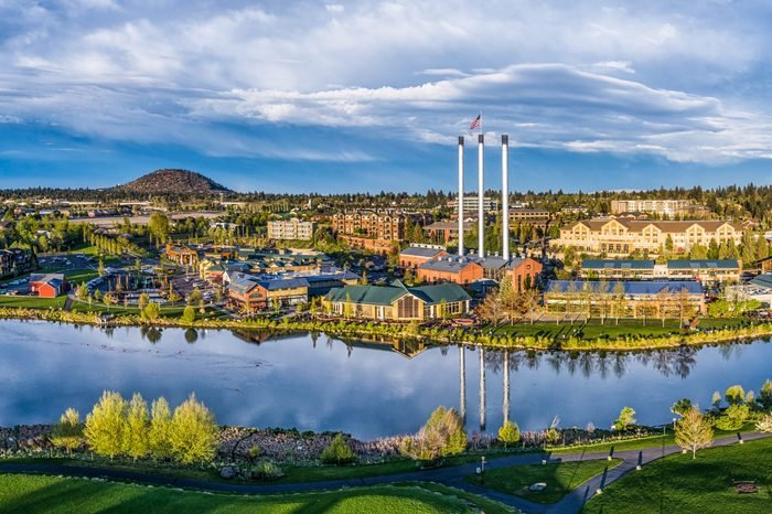 Aerial View of the Old Mill District in Bend, Oregon, USA