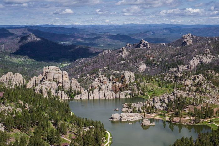 Aerial view of sylvan lake and granite formations in the Black Hills