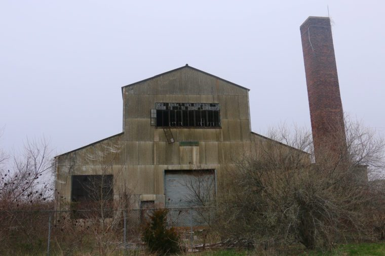 An abandoned locomotive warehouse at Fort Tilden in Breezy Point, New York