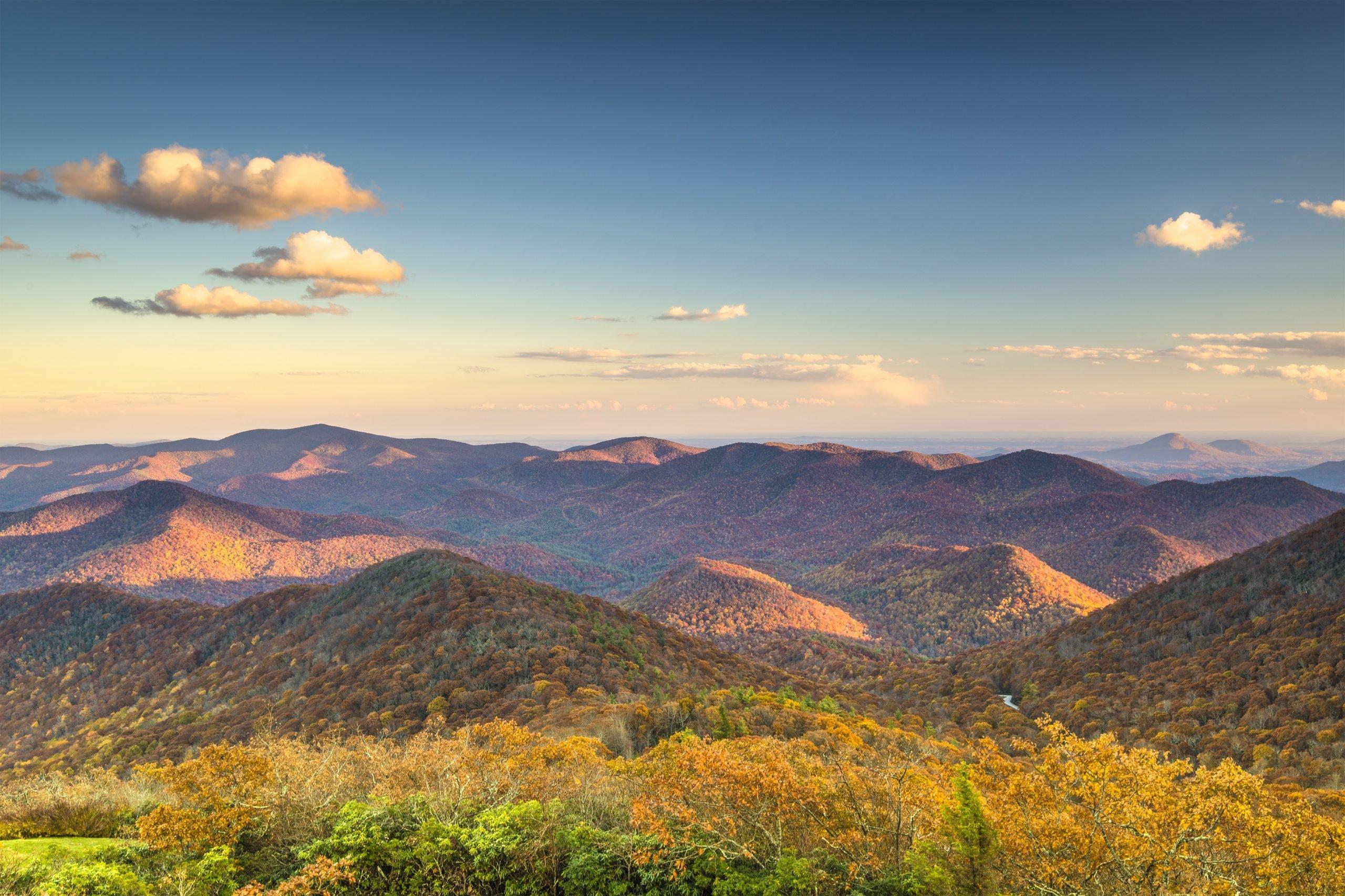 Blue Ridge Mountains at dusk in north Georgia, USA.