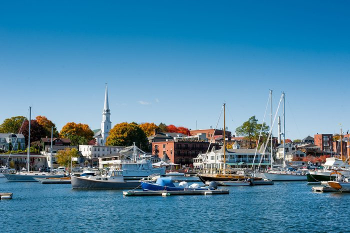 Boats moored in Camden, Maine harbor