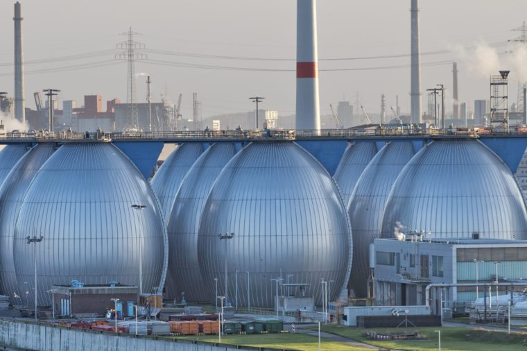 Desalination plant in hamburg harbor metallic eggs