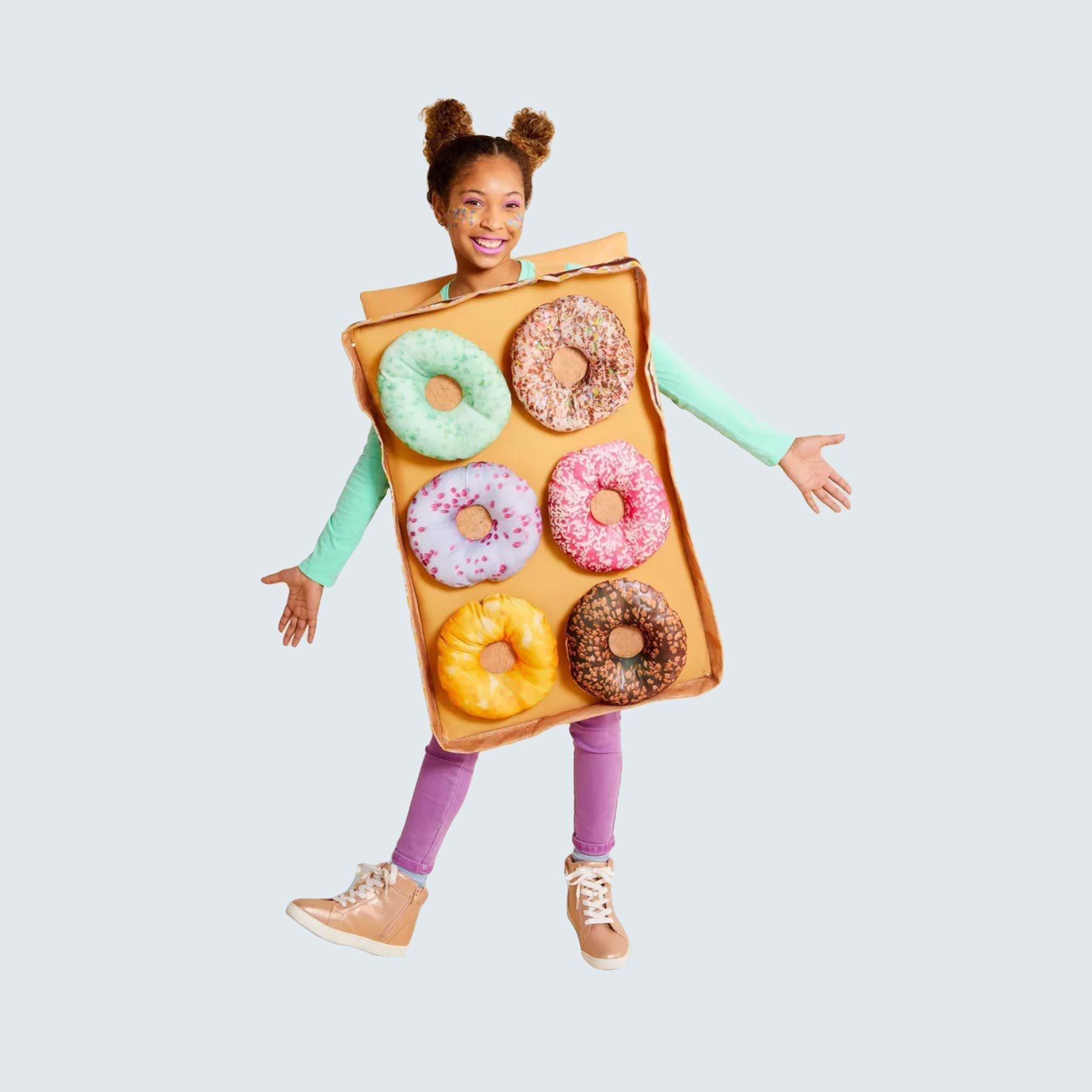 Girl in donut box costume