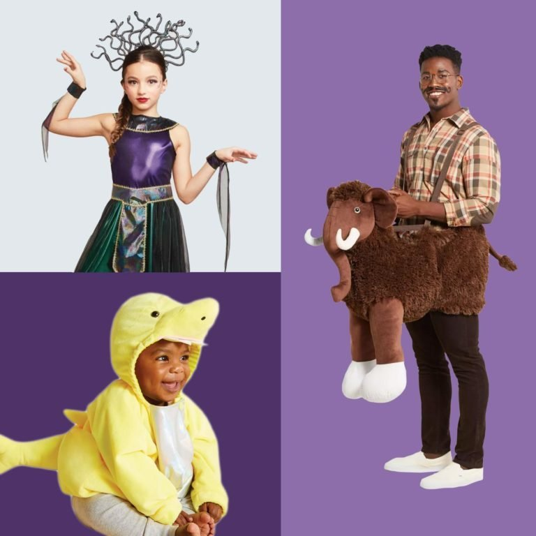 Halloween costumes: Baby shark, child medusa, and adult wooly mammoth