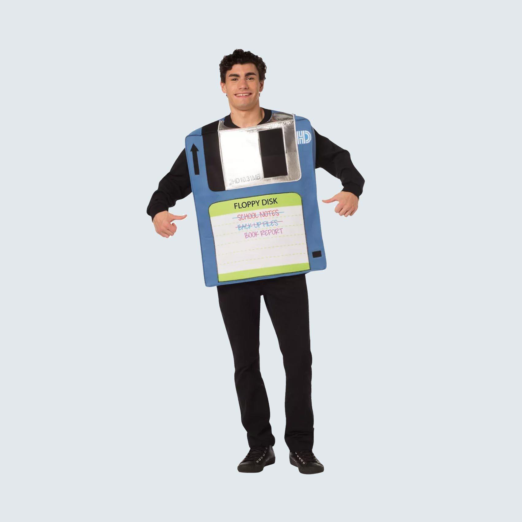 Man dressed as floppy disk