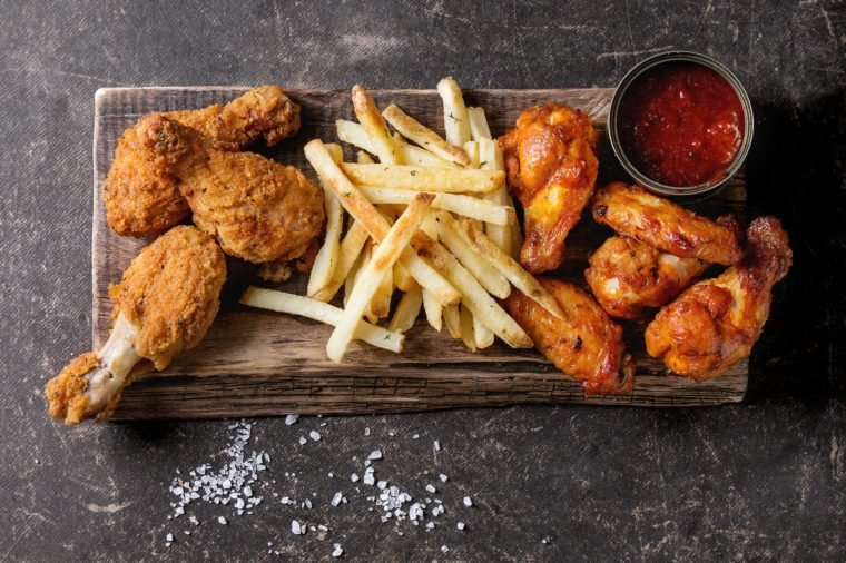 Fried chicken legs with french fries