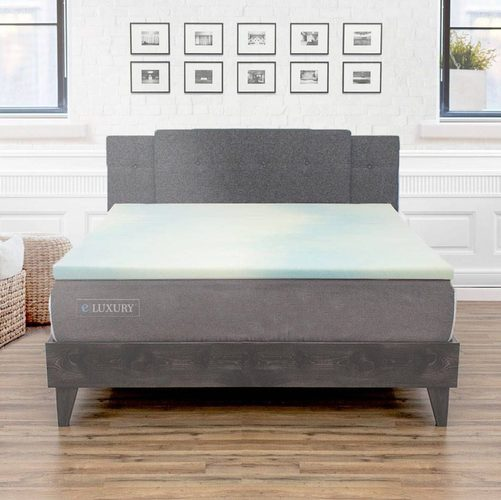 Bedding: eLuxury 1.5'' Gel Memory Foam Topper