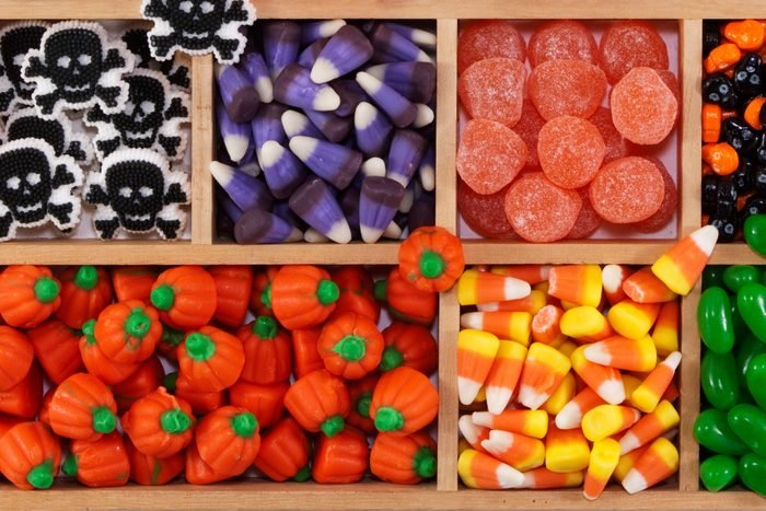 overhead view of candy in divided wood case